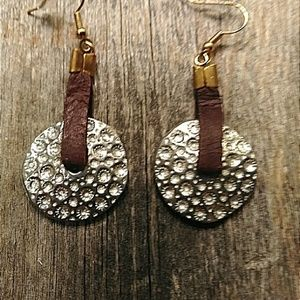 Hammered silver & brown leather earrings
